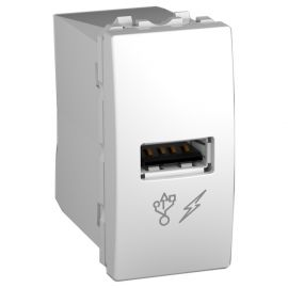 Unica-שקע לבן לטעינה 1 USB מודול