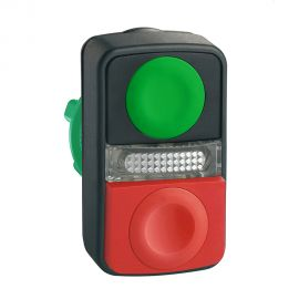 ראש לחצן משולש מפלסטיק עם לחצן STOP אדום במרכז, לחצן עליון לבן שטוח עם סימון חץ שחור, לחצן תחתון שחור שטוח עם סימון חץ לבן