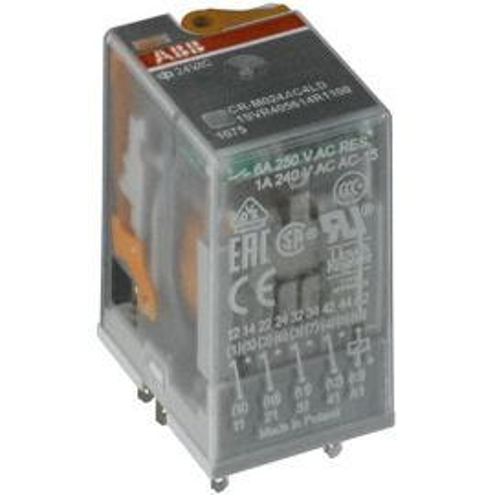 ממסר נשלף פין שטוח עם לד 6A 24VAC-4C/O