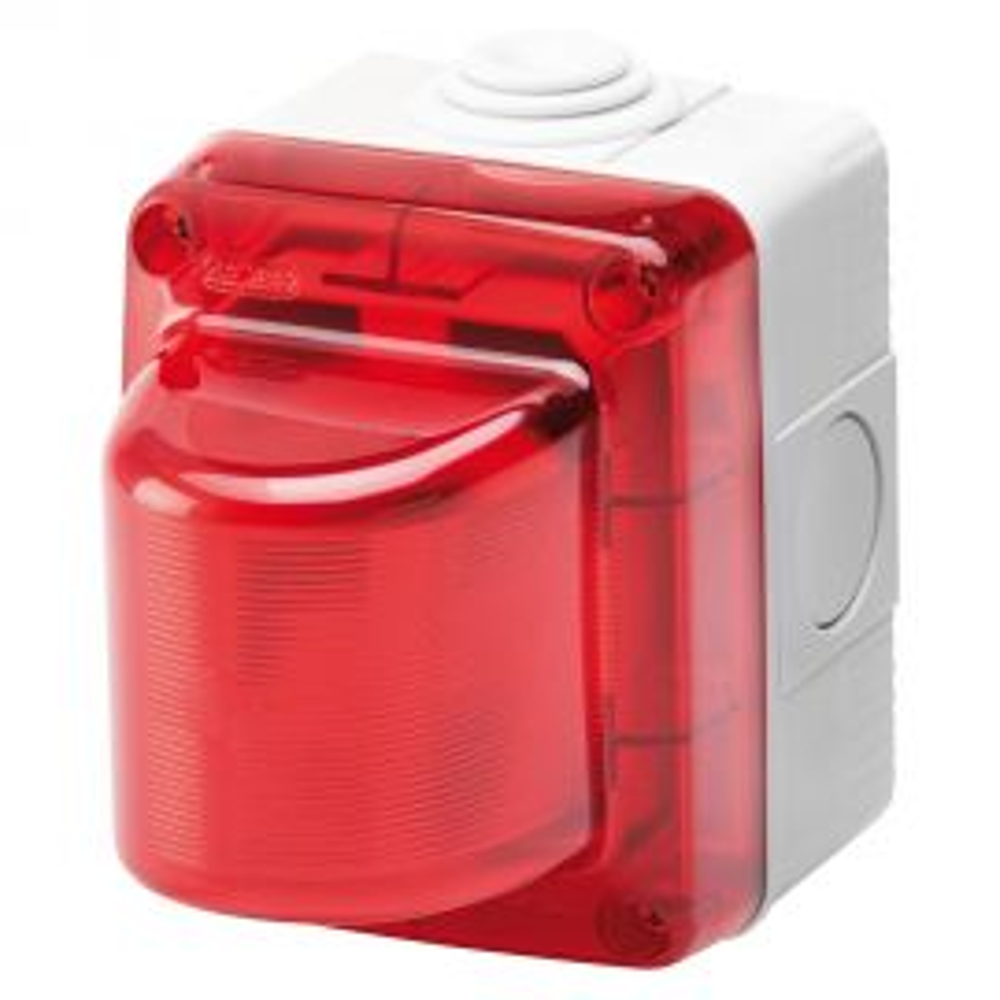 """קופסת קומבי עה""""ט עם נורת סימון מהבהבת עה""""ט 24V 25W - אדום"""