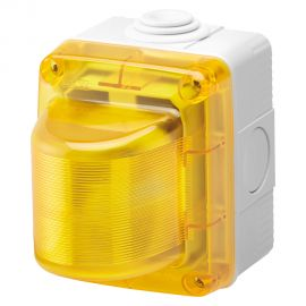 """קופסת קומבי עה""""ט עם נורת סימון מהבהבת עה""""ט 230V 25W - צהוב"""
